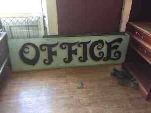 Vintage Antique Hand Painted Sign on Glass   OFFICE