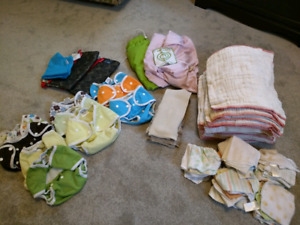Cloth diapers (prefolds, covers, wet/dry bags, etc) and diaper s