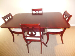 SMALL DARK MAHOGANY DROP LEAF DINING TABLE + 4 CHAIRS