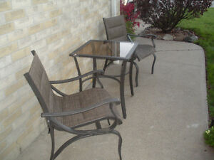 Hampton Bay 3 pc Patio Set; stored indoors in winter
