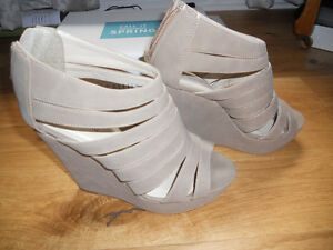 wedges beige taupe tan,size  38, 8.5 Kitchener / Waterloo Kitchener Area image 3