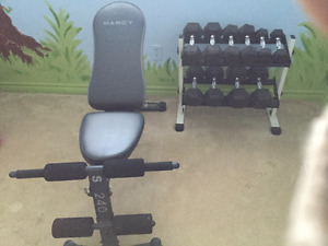 Bench and hex dumbells with rack