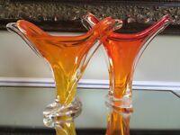 2 chalet glass yellow/orange toned vases signed