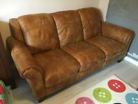 Ex-DFS 3 seater leather sofa, almost new!