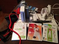 Wii console, fit board and wii active trainer