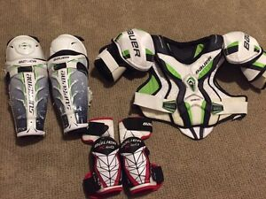 Bauer One 80 shoulder and shin pads & elbow pads