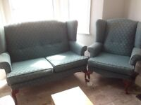 Parker Knoll Style Hand Built Wingbacked sofa set - 3 piece suite