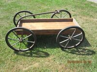 Rustic Antique Childs WOODEN WAGON with STEEL WHEELS
