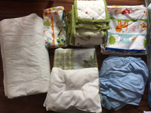 complete set of baby crib with mattress and bedding