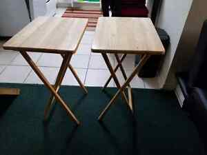 Two Folding Wooden TV Side Tables