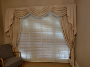 swag and tail decorative curtains, with pelmet.