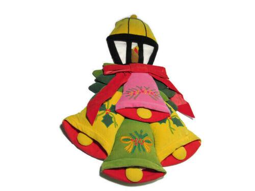 VTG Christmas Decoration House of Hatten Wall Decor Light Post Bells Hand Stitch