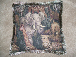 2 Jungle Animals-Throw Pillow London Ontario image 1
