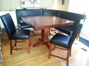 Pub Style Table - Leather and Wood Veneer (Seats 6)