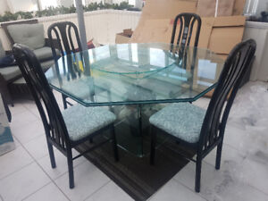 Perfect condition glass table with lazy Susan for sale