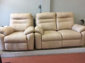 Two seater recliner and armchair