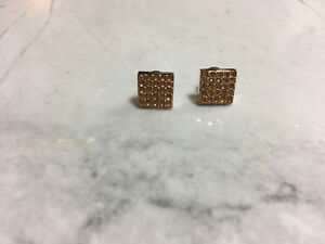 Like New Fossil Rose Gold Square Sparkle Earrings