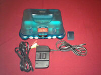 Ice Blue N64 Nintendo 64 WIth All cable Red Top Memory