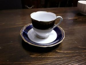 BONE CHINA ESPRESSO CUP SAUCER, HAND PAINTED, JAPAN