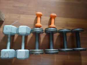 halteres dumbells 3lbs 10lbs 15lbs and 25lbs