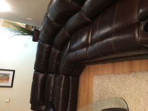 Brand New! Brown Real Leather Recliner Set Couch