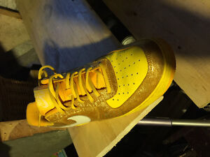 Men's Yellow/Gold Air Force Ones Size 11.5