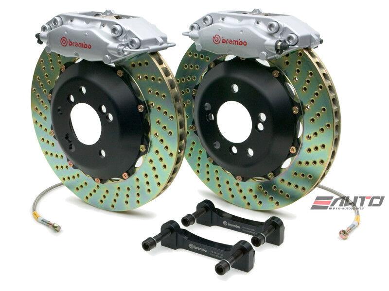 Brembo Rear Gt Big Brake Bbk 4piston Silver 345x28 Drill Disc Bmw E46 330i 330ci