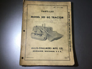 Allis-Chalmers Tracked Loader Crawler Tractor HD 6G Parts Book