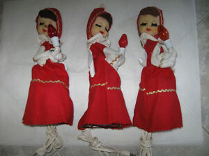 THREE VERY OLD LIGHTED MANTEL-TOP CHRISTMAS ANGELS