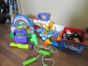 Mega blocks, hot wheels, Transformers backpack, Winnie the Pooh