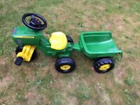 John Deere Pedal Tractor with Sound and Trailer