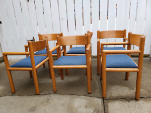 Set of Six Oak Arned Dining Chairs