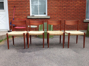 4 Chaises Salle a Manger Mid Century Moderne TECK