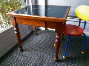 Child's wood desk and chair