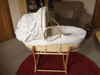 Mothercare Moses basket and rocker stand. Bargain! Excellent condition!