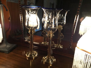 ANTIQUE RUSSIAN BRASS CANDLESTICK CANDLE LAMP GLASS SHADE SPRING