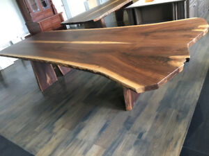 100% Solid Black Walnut Custom Live Edge Harvest Tables