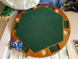 folding poker table & 4 leather chairs