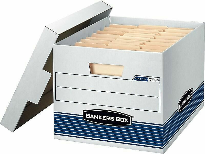 Bankers Box Stor/File Corrugated Boxes Letter/Legal Size White/Blue 806713