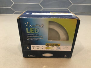 "Pair of White 4"" Recessed LED Pot Lights"