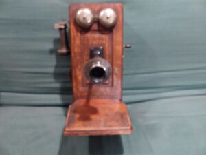 Old Antique Oak Wall Telephone