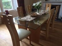 Oak and glass high quality table, chairs and sideboard