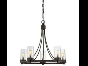 Meridian Oil Rubbed Bronze Finish Metal Glass 5-light Chandelier