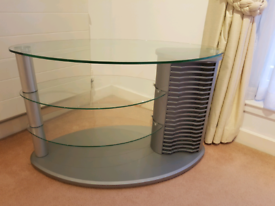 Corner / Oval Glass TV Stand with Video Game / DVD Storage