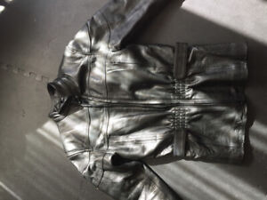 Women's leather lined motorcycle jacket
