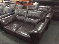2 as new full brown leather 2 seater sofas