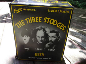 THREE 3 STOOGES BEER SIX 6 PACK CASE & BOTTLES RARE & COOL