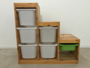 IKEA TROFAST - storage combination, pine with plastic bins