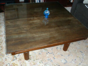 Shortened Oak Dining Table with Glass Top