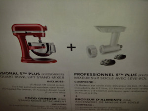 Kitchenaid MIxer PRO5  RED - New in Box AND extra attachment